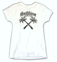 Sublime Palm Trees Long Beach Ca Girls Juniors White T Shirt Official Soft