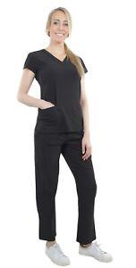 Unisex-Performance-Stretch-Medical-Uniform-Five-Pockets-V-Neck-Scrubs-Sets