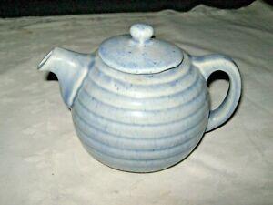 A-Very-Rare-Art-Deco-Australian-Pottery-Blue-Glaze-Beehive-Teapot-with-markings