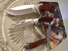 Timber Wolf Pack Leader Trapper Lockback Bowie Hunter Knife/Knives 3 Pc Set 526
