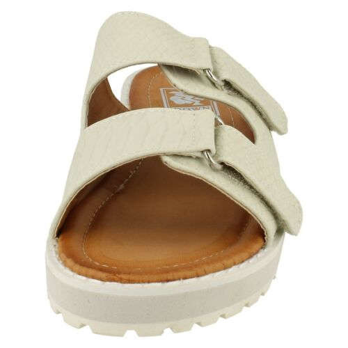 LADIES WOMENS DOWN TO EARTH OPEN TOE MULES SLIP ON CASUAL SUMMER SANDALS F1R0327