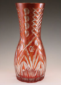 VINTAGE-CRANBERRY-or-RUBY-CUT-TO-CLEAR-9-034-VASE
