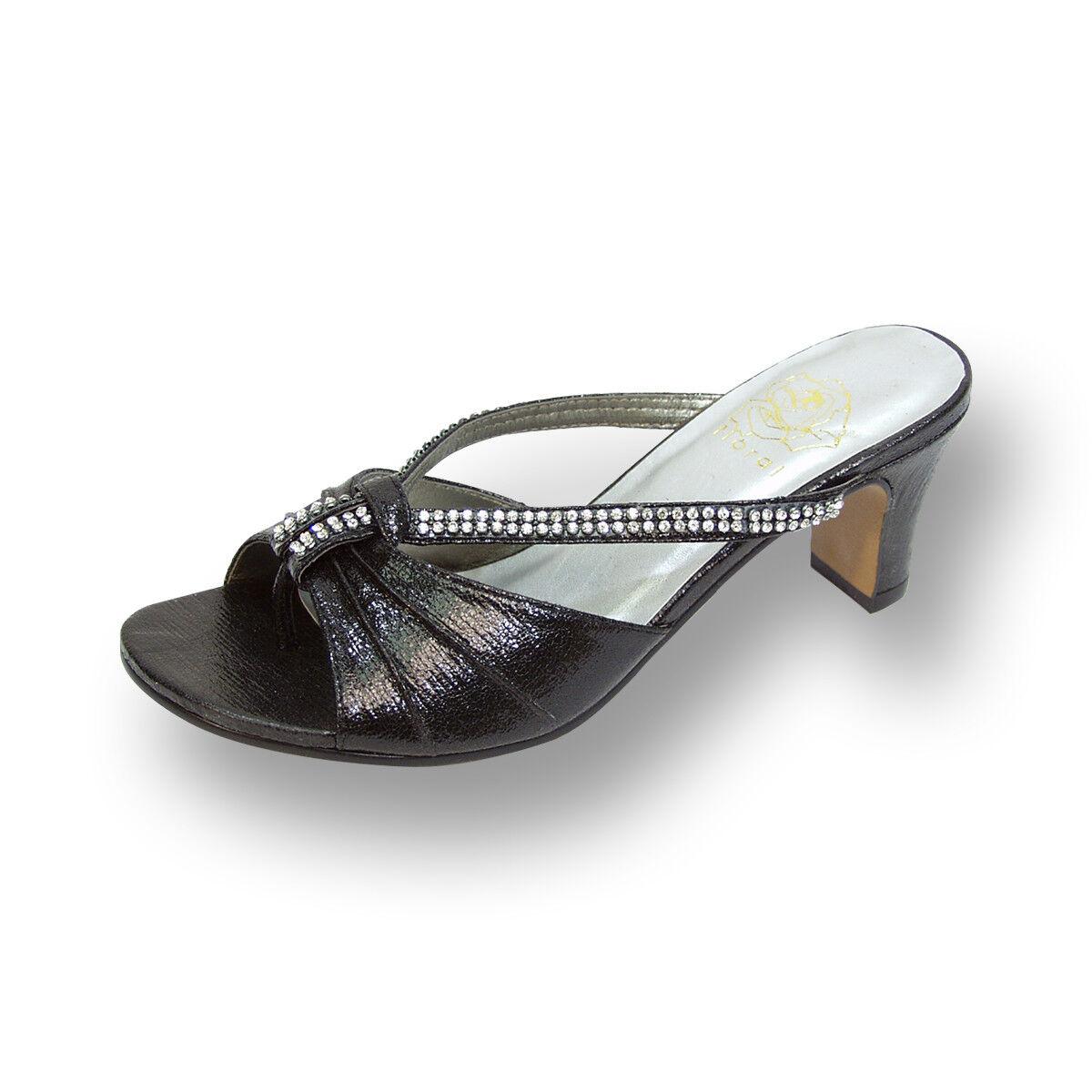 FLORAL Chrissy Women Wide Width OpenToe Rhinestone Strips Slip-On Sandals