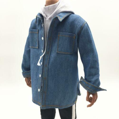 1:6 Male Blue Clothing Cowboy Shirt Coat for 12inch Sideshow Action Figure