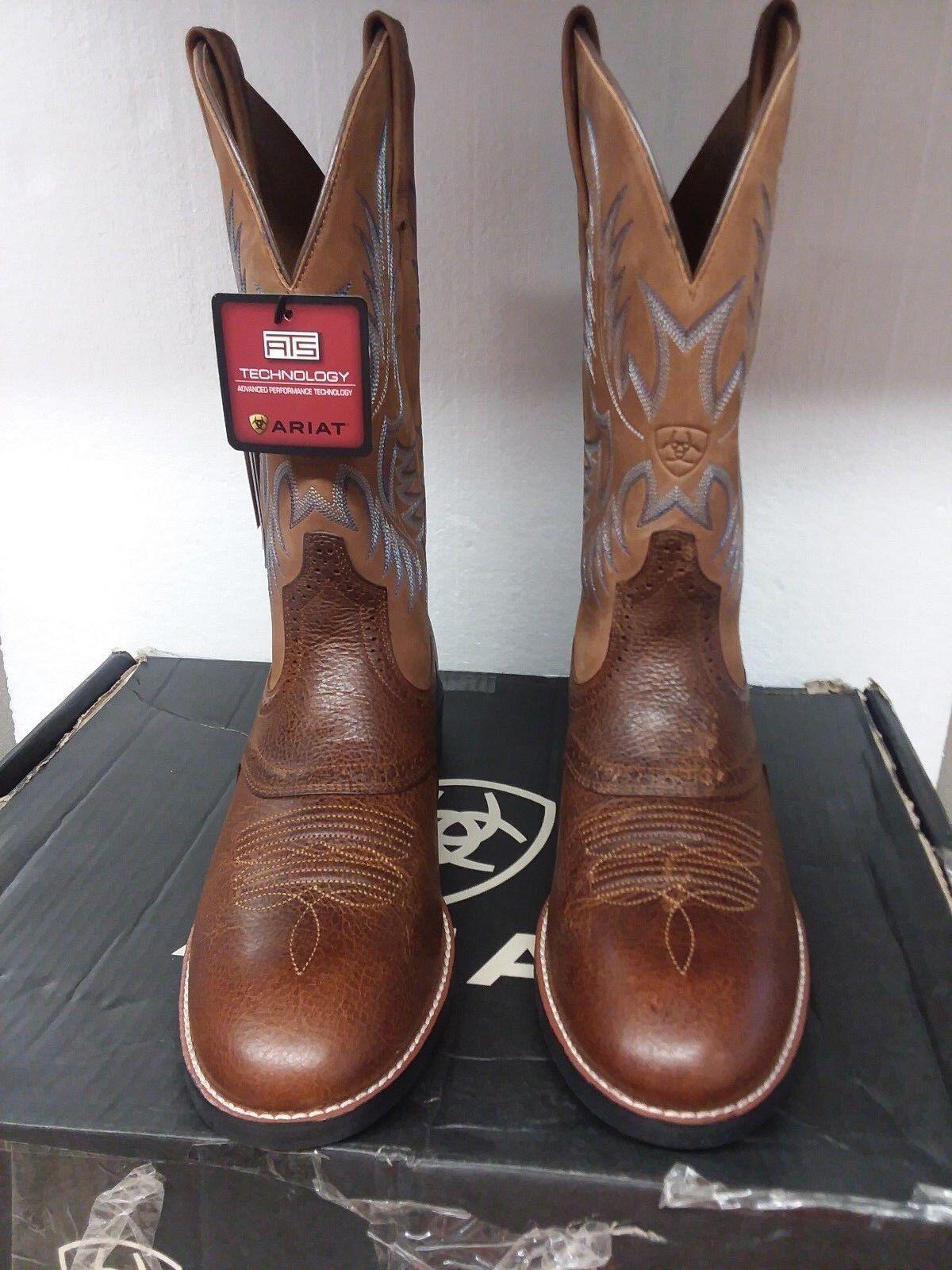 Ariat Para Hombre Barril Marrón Western Cowboy bota, patrimonio Stockman US 10.5 D medio