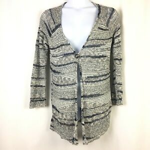 Lucky-Brand-Womens-Cardigan-Size-Large-Open-Crochet-Knit-Long-Sleeve-Striped