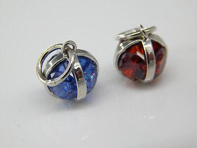 2 Anhänger CZ Zirconia silber blau rot Kettenanhänger Käfig Perlenkäfig