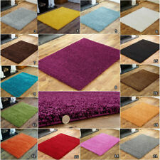 SMALL EXTRA LARGE MODERN 5CM THICK PILE MULTI COLOUR PLAIN NON SHED SHAGGY RUGS