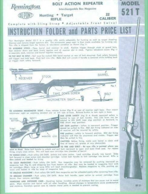 Remington 521 T 1960 S Factory Owners Instructions Manual Reproduction