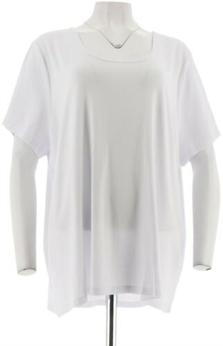 BROOKE SHIELDS Timeless Essential Scoop-Neck Knit T-Shirt White M NEW A307098
