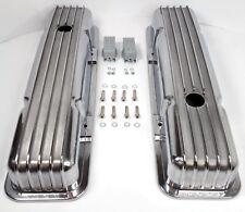 Small Block Chevy Nostalgic Polished Aluminum Finned Short Valve Covers 350 Sbc