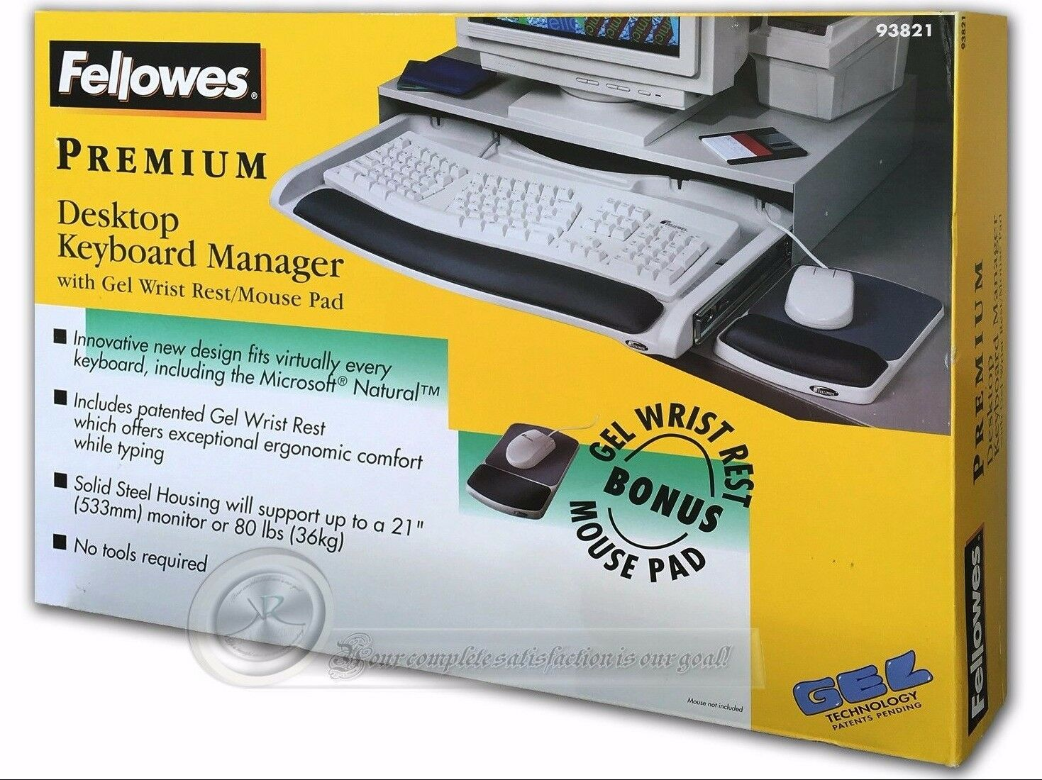 Fellowes 93821 Premium Desktop Keyboard Manager with Gel Wrist and Mouse Pad NEW