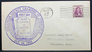 US-Postal-History-Cover-FDC-Chester-Penn-Stamp-3c-1932-USA-First-Day-H-7564