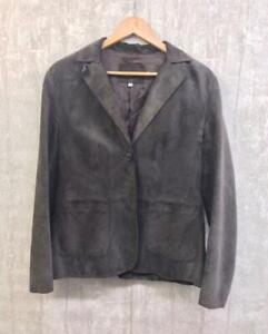 Women's M&S Genuine 100% Suede Leather Jacket Size 14 Chocolate Brown Blazer