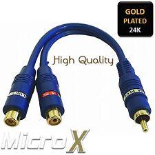 Premium GOLD Cable Adapter RCA male plug to 2x RCA female Socket Plug Phono