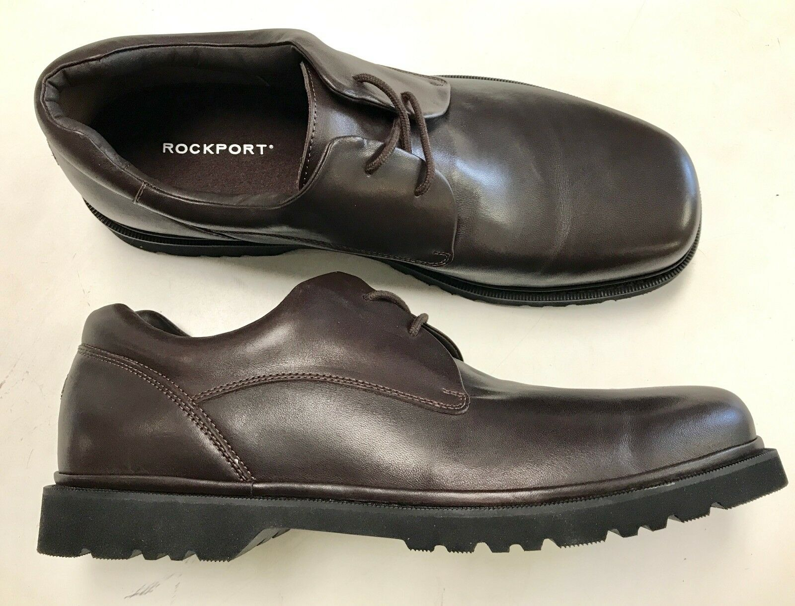 BRAND NEW Men's ROCKPORT Dark Brown Smooth Leather Lace Up Oxford Size 12 Medium