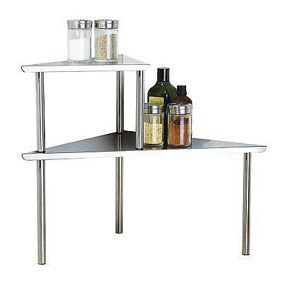 Stainless Steel 2 tier corner shelf storage organizer counter kitchen free ship