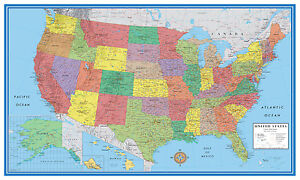 48x78 United States, USA, US Classic Elite Large Wall Map Poster ...
