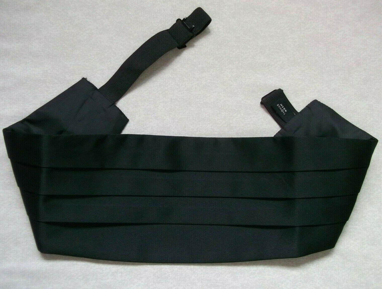 Cummerbund Mens Pleated Sash SOLID BLACK by Thomas Nash Adjustable to 34