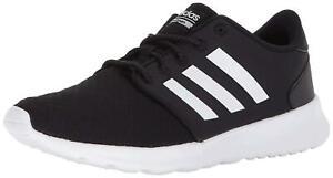 Adidas-Womens-Cloudfoam-Qt-Racer-Fabric-Low-Top-Black-White-Carbon-Size-6-0-6Y
