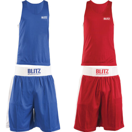 BLITZ BOXING SHORTS AND VESTS  COMPETITION ABA COLOURS RED BLUE MENS BOYS GIRLS