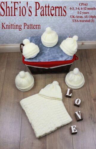 3-6 1-2yrs # 163 Pas De Vêtements 6-12 Knitting Pattern Aran Baby Blanket Chapeau 0-3