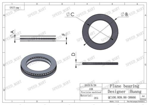 NTA815 1//2/'/' Thrust Needle Roller Bearing With Two Washers 12.7 x 23.8 x 3.584