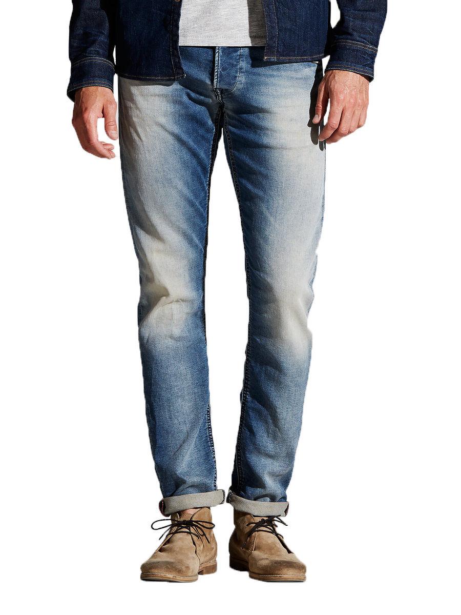 JACK & JONES JONES JONES Jeans New Mens Glenn Slim Fit Taperot Narrow Leg Denim Faded Blau b98e9b