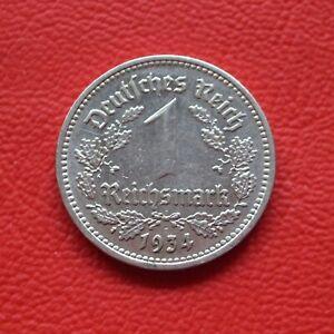 1 Reichsmark 1934 E vf Third Reich / German Km# 78 J#354
