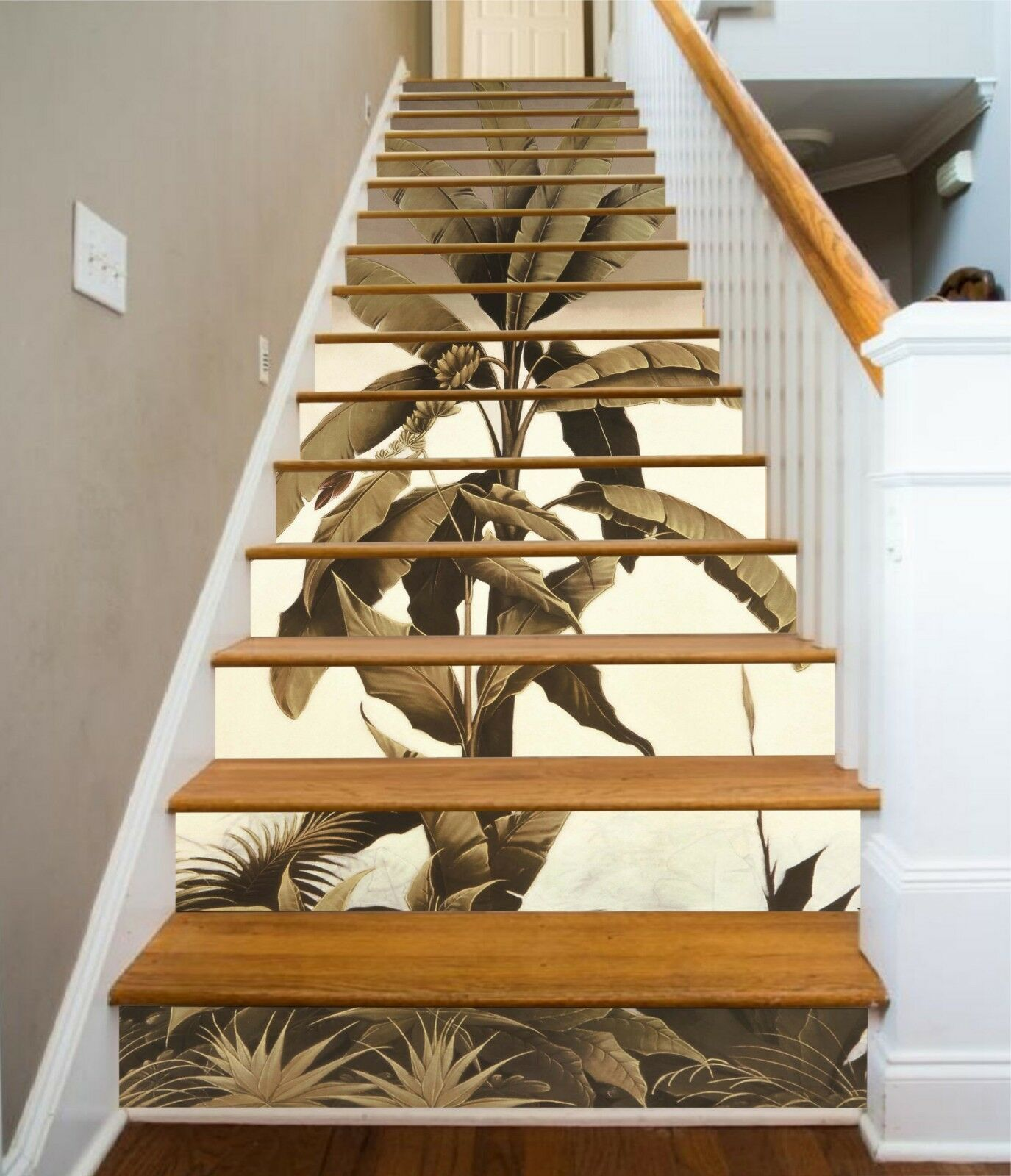 3D Leaves Pattern Stair Risers Decoration Photo Mural Vinyl Decal Wallpaper US