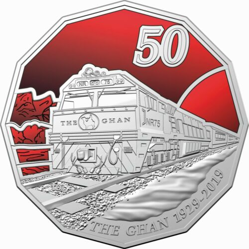 2019 Australia 50c Coloured UNC Carded Train Coin 90th Anniversary of the Ghan