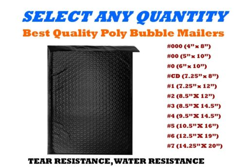 BLACK POLY BUBBLE MAILERS SHIPPING MAILING PADDED BAGS ENVELOPES SELF-SEAL