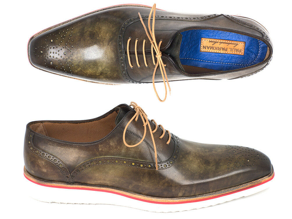 Paul Parkman Smart Casual Oxford shoes For Men Army Green  Handmade shoes