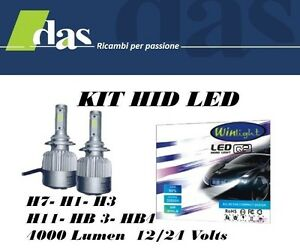 Kit h1 hid lampade a led cree full led 4000 lumen 6000k for Lampade a led lumen