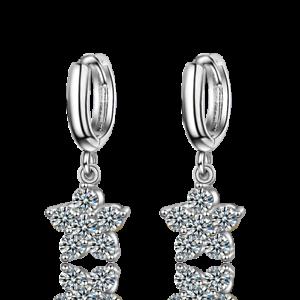 Women-Ladies-Elegant-925-Sterling-Silver-Zircon-Star-Flower-Dangle-Hoop-Earrings