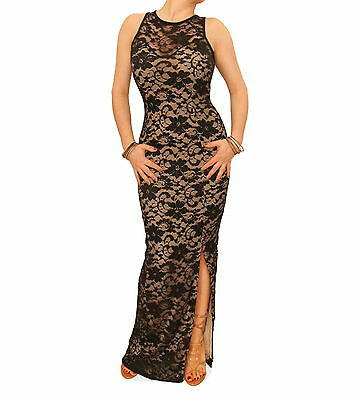 New Stretchy Fully Lined Lace Maxi Dress