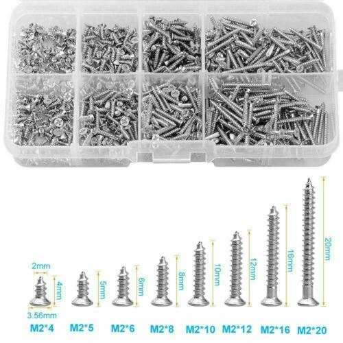 800 Pieces Stainless Steel Wood Screw Assortment Self Tapping Small Metal Screws