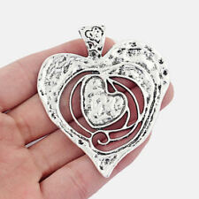 5Pcs Antique Silver Large Jewellery Making Findings Open Heart Charms Pendants