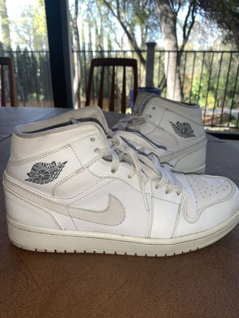 Size 9.5 - Jordan 1 Mid White Cool Grey for sale online | eBay