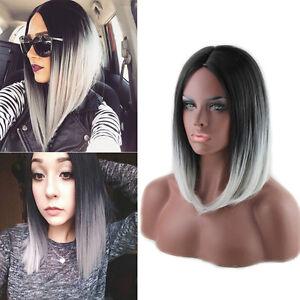 Image Is Loading Women Heat Resistant Short Straight Full Wig Black