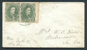 Confederate States 1861 - Jefferson Davis, 5c green in pair on envelope