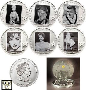 Cook-Islands-Set-of-6-039-Hollywood-Legends-039-Sterling-Silver-5-Coins-12750