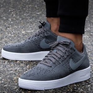 mens nike flyknit air force 1 low black grey shoes nz
