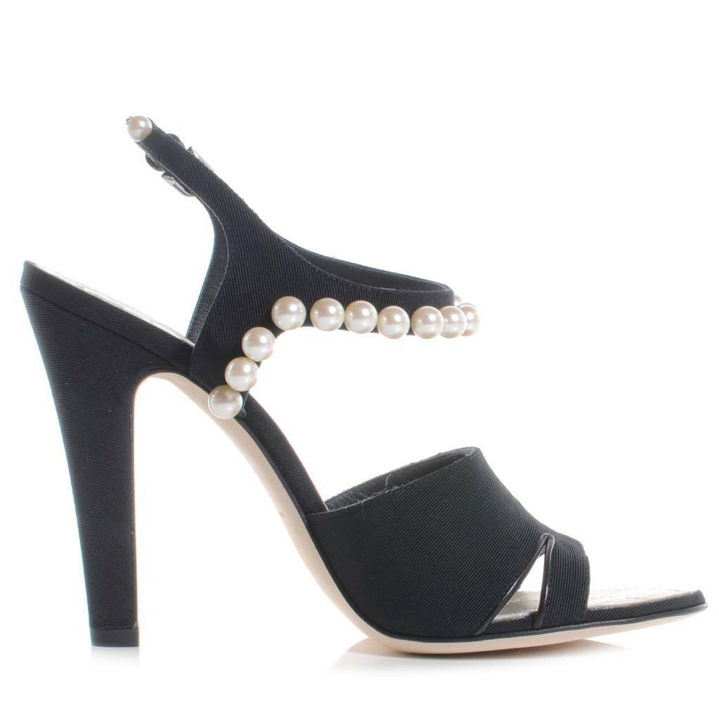Channail 2014 14P Satin Pearl Emellited Ankle Strap Sandals Heels  scarpe  1325  costo effettivo