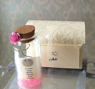 PERSONALISED SORRY YOU/'RE LEAVING DIAMANTÉ MESSAGE IN A BOTTLE GIFT CARD PRESENT