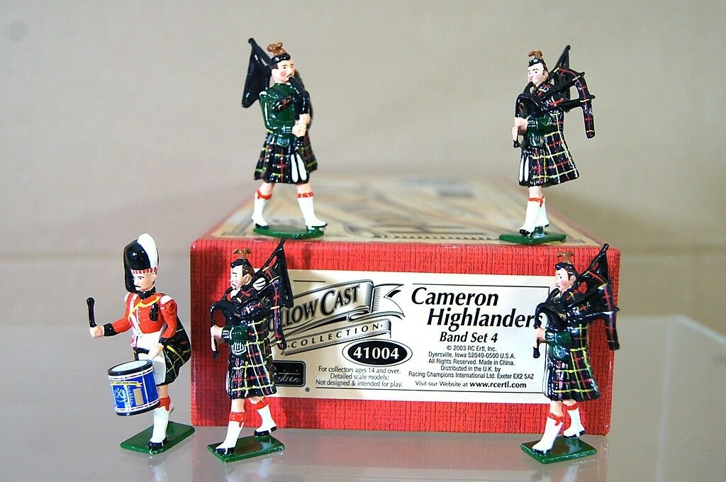 Britains 41004 Cameron Highlanders Pipa Canal Set 4 Hueco Fundido Menta en Caja