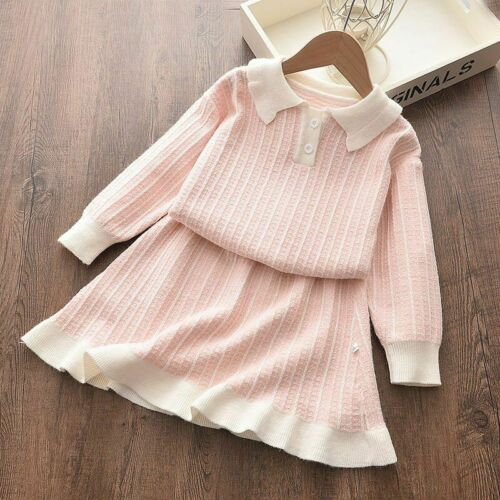 Kids Autumn Winter Dress Girls Clothing Casual Wear Long Sleeved Knitted Dresses