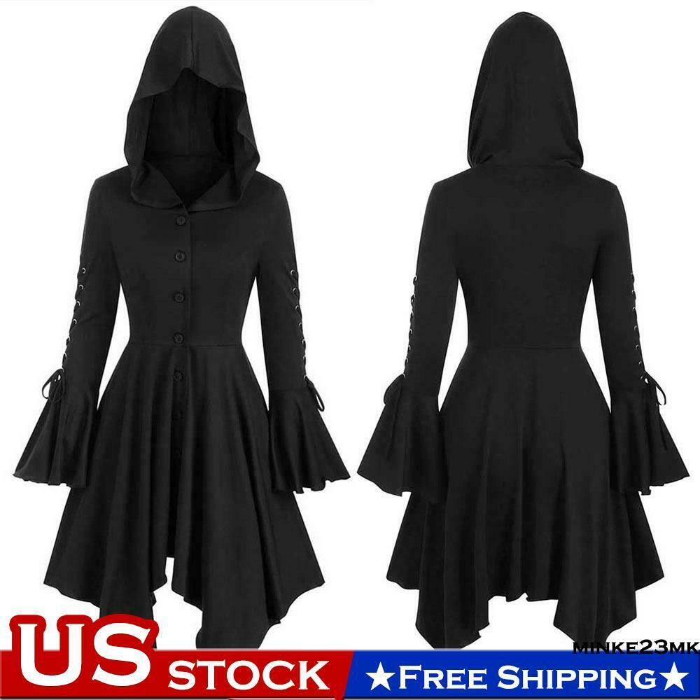 Womens Gothic Punk Hooded Dress Ladies Fancy Halloween Party Steampunk Coats