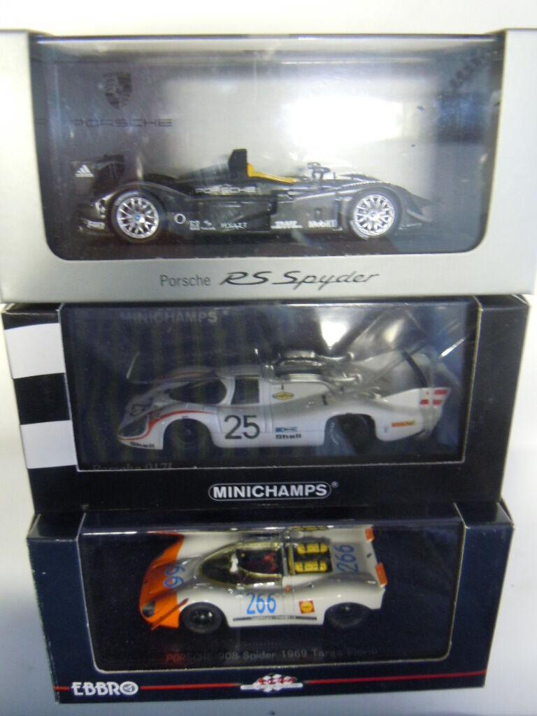 3 RARES PORSCHE voiture de course de modèles de Ebbro et Minichamps Dans 1 43 neuf dans sa boîte