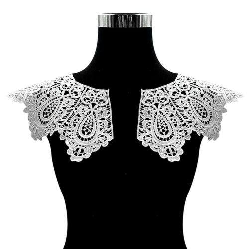 White Embroidery Shawl Collar Trims Clothes Dress DIY Sewing Lace Applique Decor